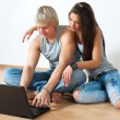 Happy young couple using laptop — Stock Photo #7559091