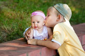Brother sister kissing — Stock Photo