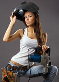 Sexy young woman construction worker — Stock Photo