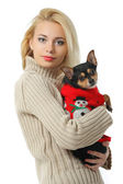 Beautiful young blond girl with cute yorkshire terrier dog, isol — Stock Photo