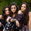 Portrait of three beautiful girls gypsy - Stock Photo