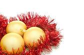 Gold christmas balls — Stockfoto