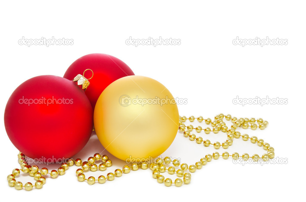 Gold and red christmas balls on a white background — Stock Photo #7605923