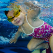 Happy cute girl toddler swimming underwater — Stock Photo