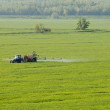 Aerial view of tractor spraying substances over green crops field — Stock Photo