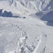 Footprints and ski and snowboard tracks in alpine winter landscape — Stock Photo