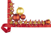 Christmas decoration (bauble, stars with red ribbon) — Stock Photo