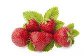 Cinco fresas con hoja aislados en blanco — Foto de Stock