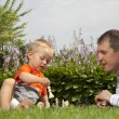 Child and father playing chess in the garden — Stock Photo