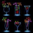 Neon Tropical Drinks - Stock Vector