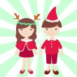 Boy and Girl in Santa claus costume — Stock Photo