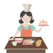 Woman preparing christmas cake — Stock Photo