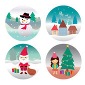 Santa claus , Girl , Snowman and home — Stock Photo