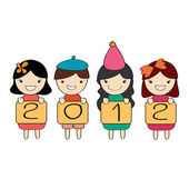 Cute children group with 2012 new year letter — Stock Photo