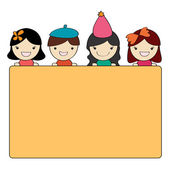 Cute children group with blank message board — Stock Photo