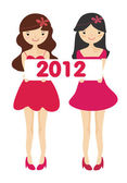 Cute girls with 2012 new year letter — Stock Photo