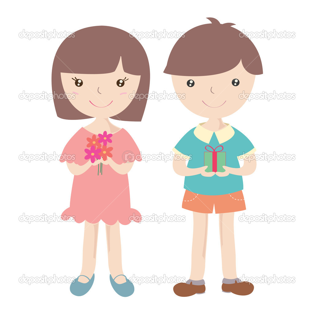 Cute girl and boy with t box stock image