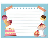 Cake and ice cream frame background — Stock Photo
