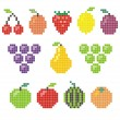 Stock Vector: Pixel fruit icons