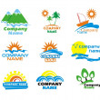 Tourism and vacation icons and logo design — Imagens vectoriais em stock