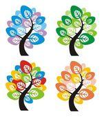 Four seasons tree — Stock Vector