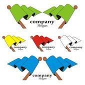 Colour flags logo — Stock Vector