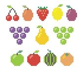 Pixel fruit icons — Stock Vector