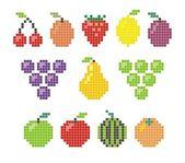 Pixel fruit icons — Stock Vector