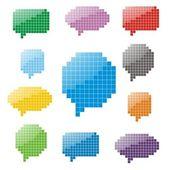 Pixel glansigt pratbubblor — Stockvektor