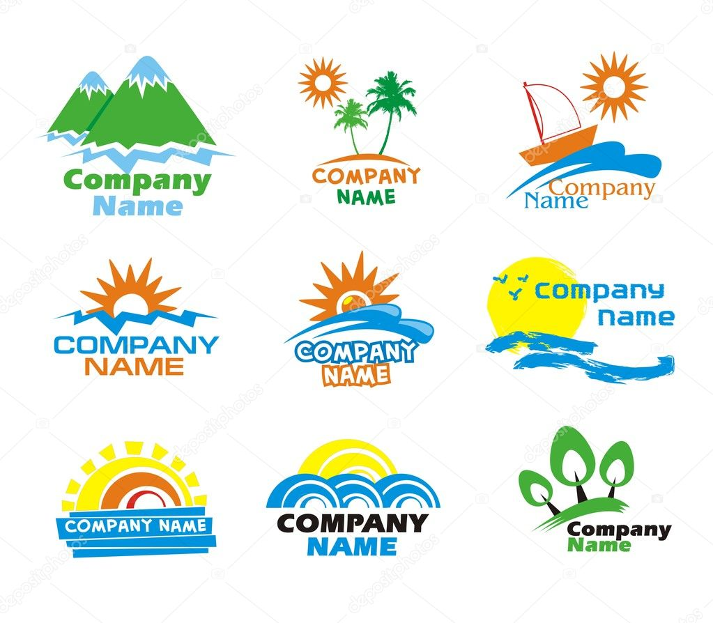 Set of tourism and vacation icons and logo design  Stock Vector #7672787