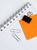 Business note book with marker notes and paper clips — Stock Photo