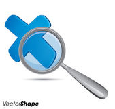 Magnifying glass with x mark — Stock Vector