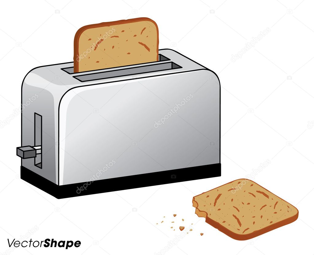 Inside Of A Toaster ~ Toaster with fresh toasted bread inside and one bitten