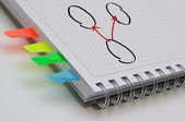 Business note book with marker notes — Stock Photo