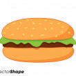 Royalty-Free Stock Vector Image: Fresh hamburger with salad dressing
