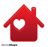 Gentle red house with heart inside — Stock Vector