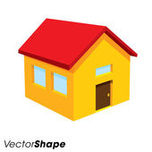 Yellow house with windows and red roof — Stock Vector