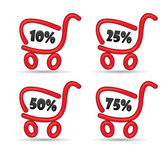 Red shopping cart with discount — Stock Photo