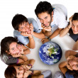 Group of young ecologists — Stock Photo
