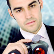 Business search - confident man - Stock Photo