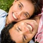 Couple portrait on the floor — Stock Photo #7568392