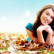 Stock Photo: Autumn girl portrait outdoors