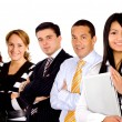 Stock Photo: Business team with businesswomleading