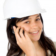 Female architect on the phone — Stock Photo