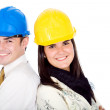Stock Photo: Couple of young architects