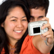 Couple taking a self portrait — Stock Photo