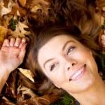 Autumn girl portrait smiling — Stock Photo