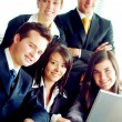 Business team in an office laptop — Stock Photo