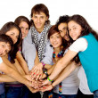 Stock Photo: Group of friends united