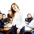 Female teacher and her students — Stock Photo